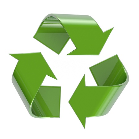 recycling symbol: Recycling symbol  3D isolated on white with clipping path for easy selection