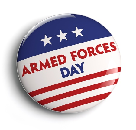 Armed Forces Day button badge  Clipping path included for easy selection