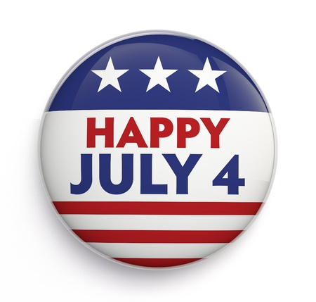 Happy Fourth of July badge. Clipping path included for easy selection.
