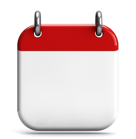 Calendar blank 3D icon isolated on white. Stock Photo