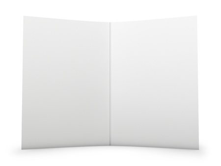 double page spread: Blank folder spread with paper texture. Isolated on white.