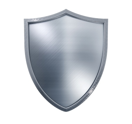 Metal shield isolated on white  Stock Photo