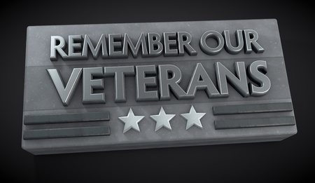 Veterans Day sign with text Remember Our Veterans  Clipping path included for easy selection