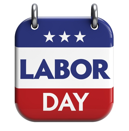 Labor Day calendar reminder isolated on white  Clipping path included for easy selection  Stock Photo
