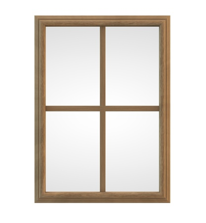 Wooden window frame isolated on white
