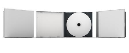 Lege CD en CD geval mock-up set. Clipping pad opgenomen voor eenvoudige selectie. Stockfoto