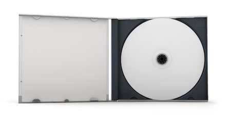 Blank CD inside an open CD case  Clipping path included for easy selection