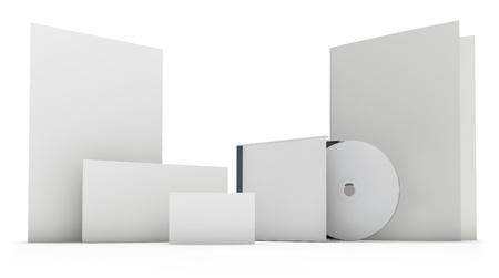 文房具セット白で隔離される空白の 3 D オブジェクト templete 写真素材