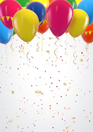 Party colorful balloons and confetti festive background