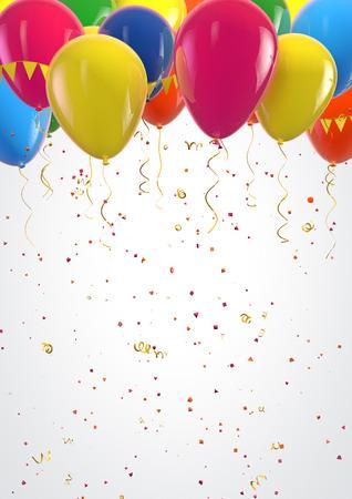 Party kleurrijke ballonnen en confetti feestelijke achtergrond