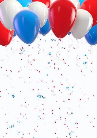 VS ballonnen en confetti viering Stockfoto