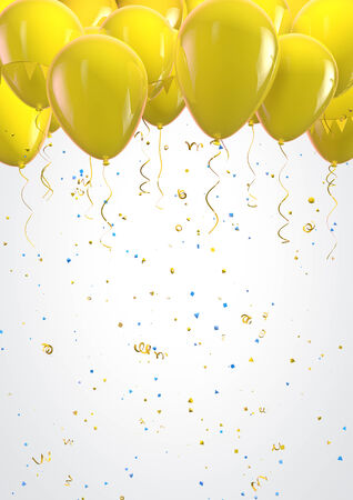 Labor Day poster design template with yellow balloons Stock Photo