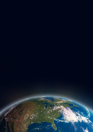 Planet Earth in space showing North America  Stock Photo