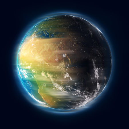 Earth spinning in outer space