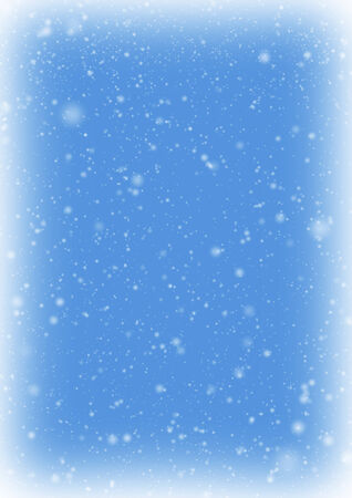 Frozen snow frame with snow on blue sky background. Stock Photo