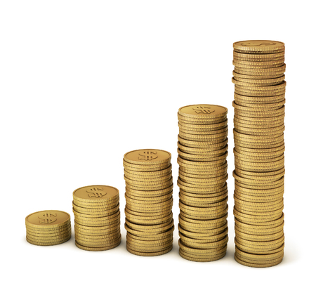increased: Gold coins symbolizing financial growth, increased profits, inflation, higher prices, etc  Clipping path included for easy selection  Stock Photo