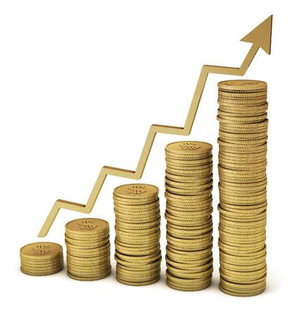Gouden munten tonen besparingen, financiële groei, hogere winsten, etc uitknippad opgenomen voor een eenvoudige selectie Stockfoto