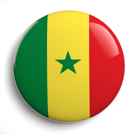 Senegal flag icon  Clipping path included  Stock Photo