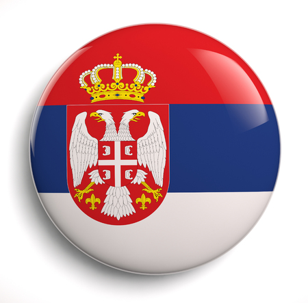 Serbia flag icon  Clipping path included  photo