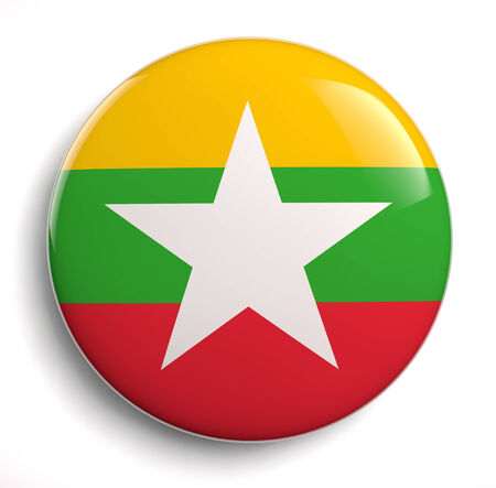 Burma flag icon. Clipping path included.