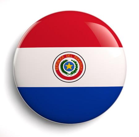 bandera de paraguay: Aislado icono de la bandera paraguaya. Trazado de recorte incluido.