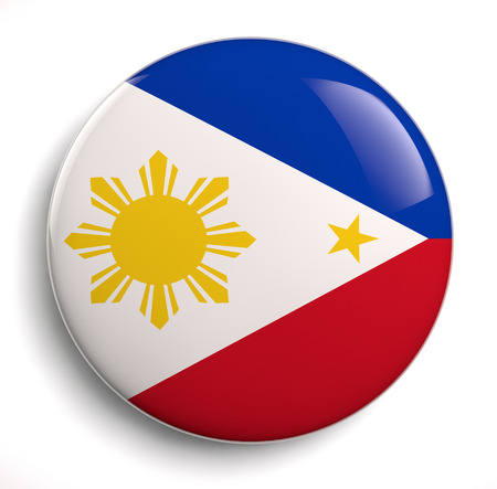 Philippines flag icon isolated on white. Stock Photo
