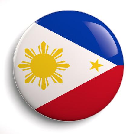 philippines flag: Philippines flag icon isolated on white. Stock Photo