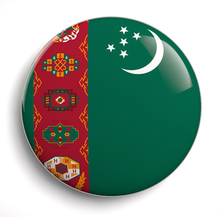 turkmenistan: Turkmenistn flag icon. Clipping path included. Stock Photo