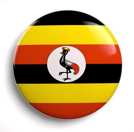uganda: Uganda flag icon. Clipping path included. Stock Photo