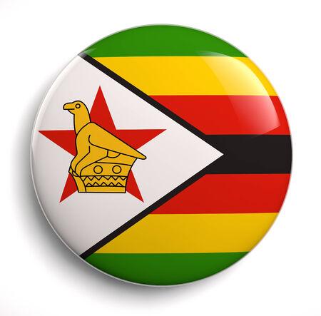 zimbabwe: Icono de la bandera de Zimbabwe aislado en blanco. Aseguramiento camino. Foto de archivo