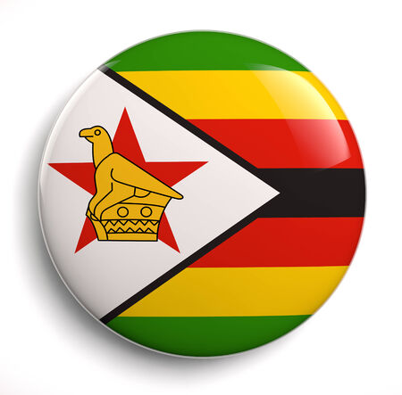 Zimbabwean flag icon isolated on white. Clipping path included. photo