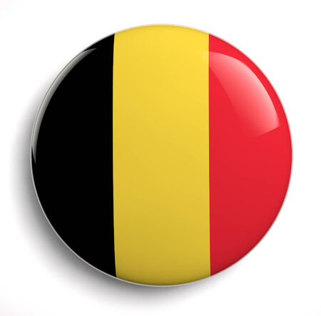 belgique: Belgian flag icon isolated on white. Clipping path included. Stock Photo