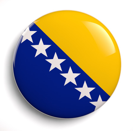 bosnian: Bosnian flag icon isolated on white. Stock Photo