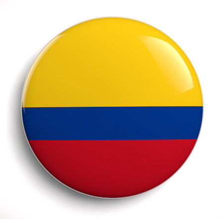 3d button: Colombian flag symbol isolated on white.
