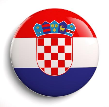 Croatian flag icon on white.  photo