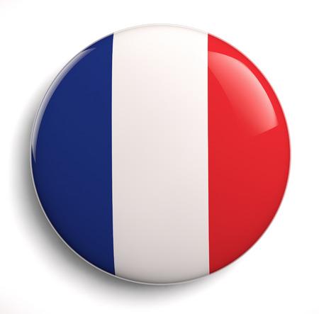 Franse vlag pictogram op wit. Stockfoto