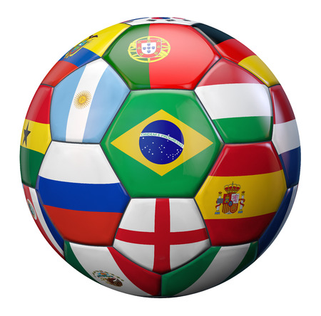 goal flag:  Football competition represented by a soccer ball textured by international football teams flags. Stock Photo