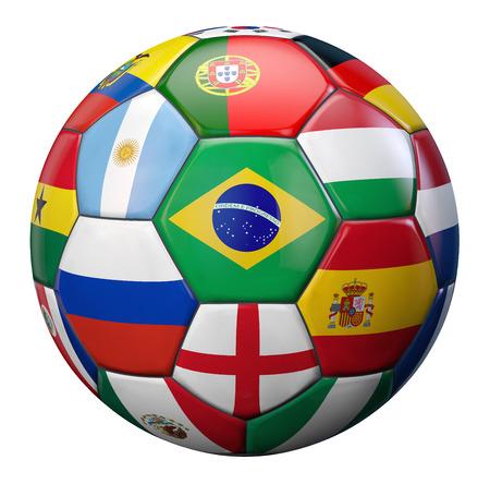 Voetbalcompetitie vertegenwoordigd door een voetbal gestructureerd door het internationale voetbal teams vlaggen.