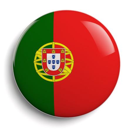 drapeau portugal: Portugal drapeau isolé bouton badge. Chemin de détourage inclus. Banque d'images