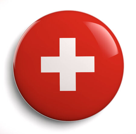 push button: Swiss flag white cross on red.