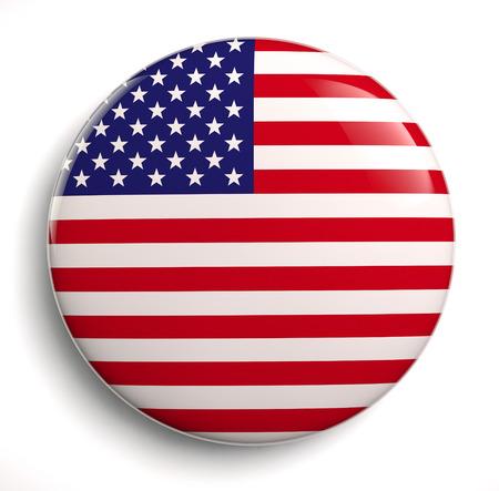 USA flag icon isolated on white.  Stock Photo