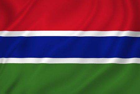 Gambia national flag background texture.