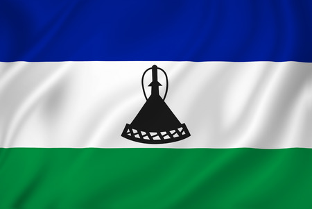 LESOTHO: Lesotho national flag background texture.