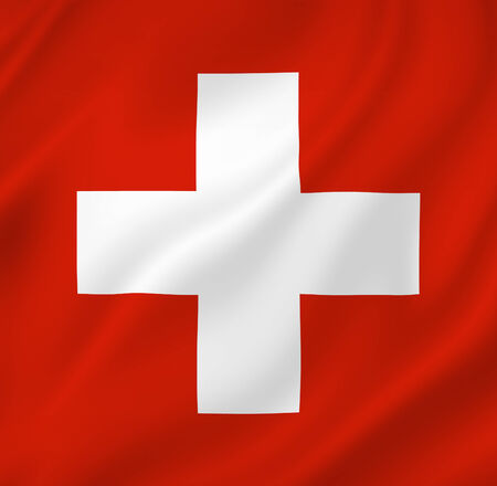 swiss insignia: Swiss national flag background texture. Stock Photo