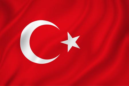 Turkse nationale vlag als achtergrond.