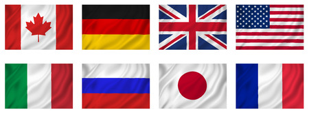 industrialized country: Flags of G8 Industrialized countries, isolated.