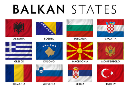 Balkans - Southeast Europe countries flags  photo
