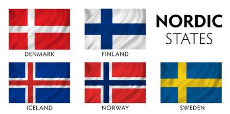 Nordic Scandinavian counties state flags