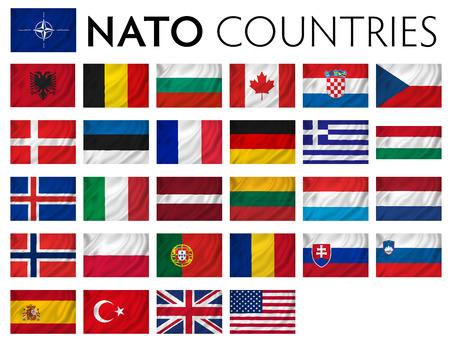 north atlantic treaty organization: NATO member countries isolated flags. Stock Photo