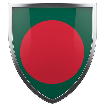 bangladesh 3d: Bangladesh flag shield design element. Stock Photo